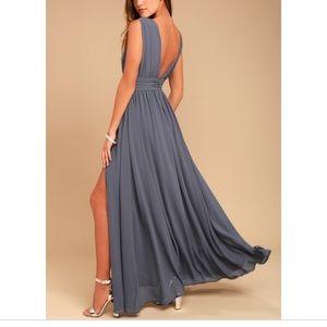 Lulus Heavenly Hues Denim Blue Maxi Dress, Size S